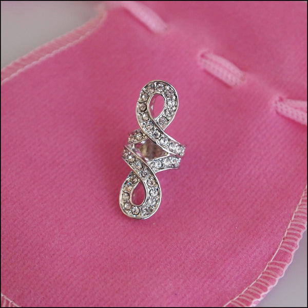 Large Crystal Knot Charm - Silver Plated