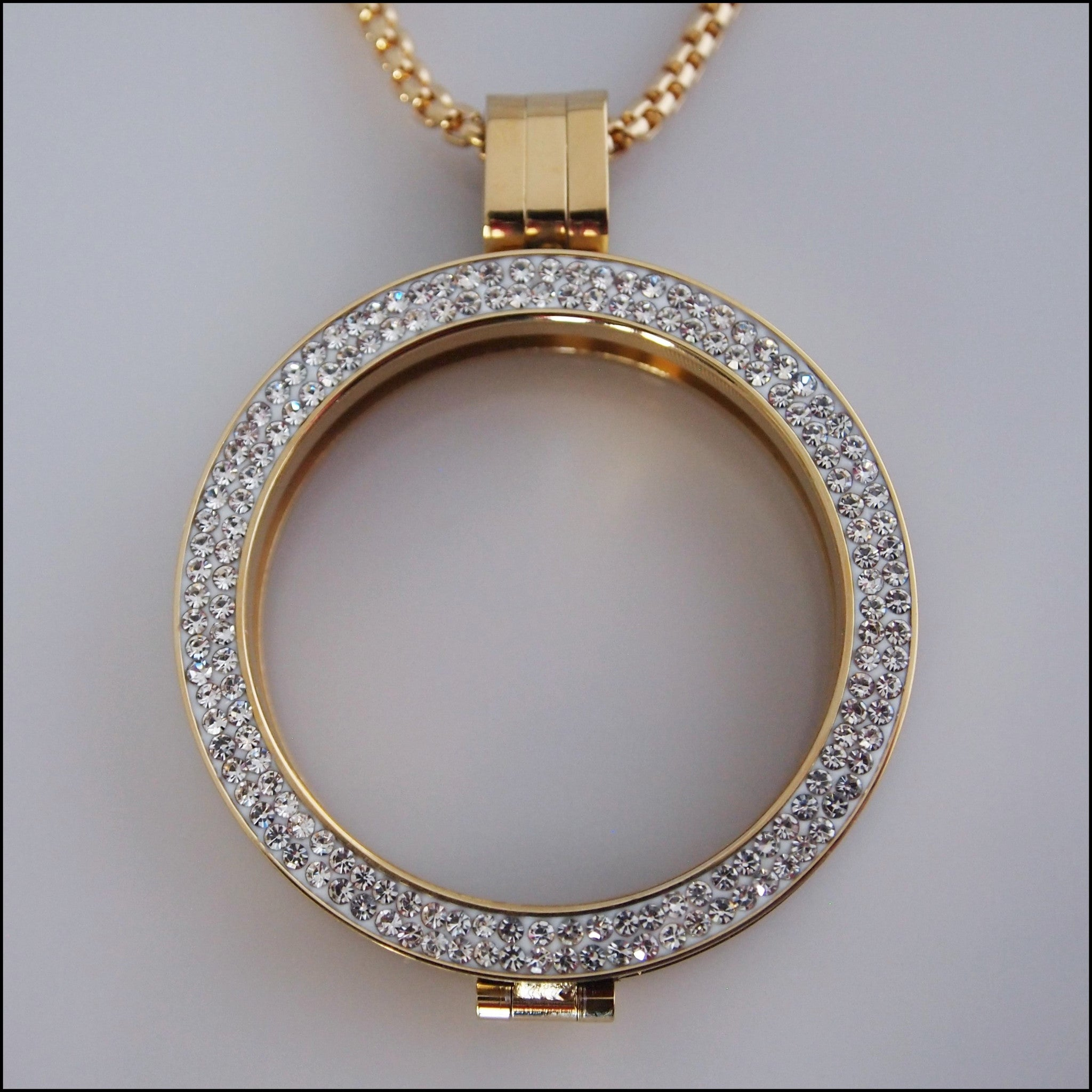 Double Crystal Coin Holder Pendant - Gold - Find Something Special