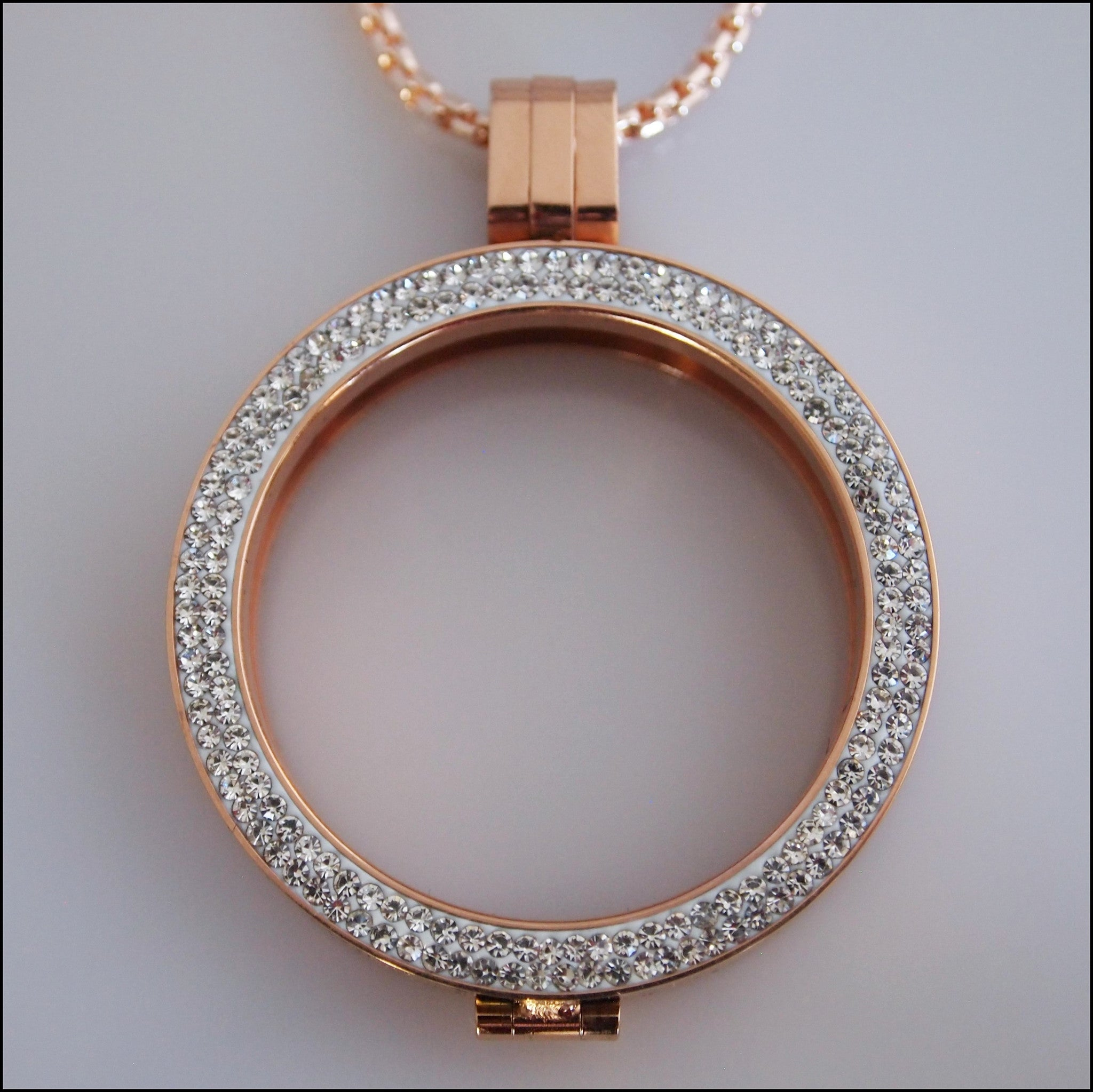 Double Crystal Coin Holder Pendant - Rose Gold - Find Something Special