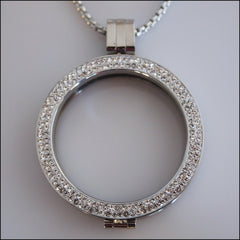 Double Crystal Coin Holder Pendant - Silver - Find Something Special