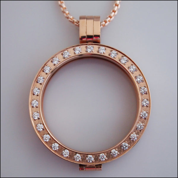 Crystal Coin Holder Pendant - Rose Gold