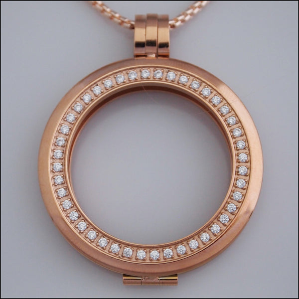 Smooth Surround Crystal Coin Holder Pendant - Rose Gold