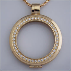Smooth Surround Crystal Coin Holder Pendant - Gold - Find Something Special - 1