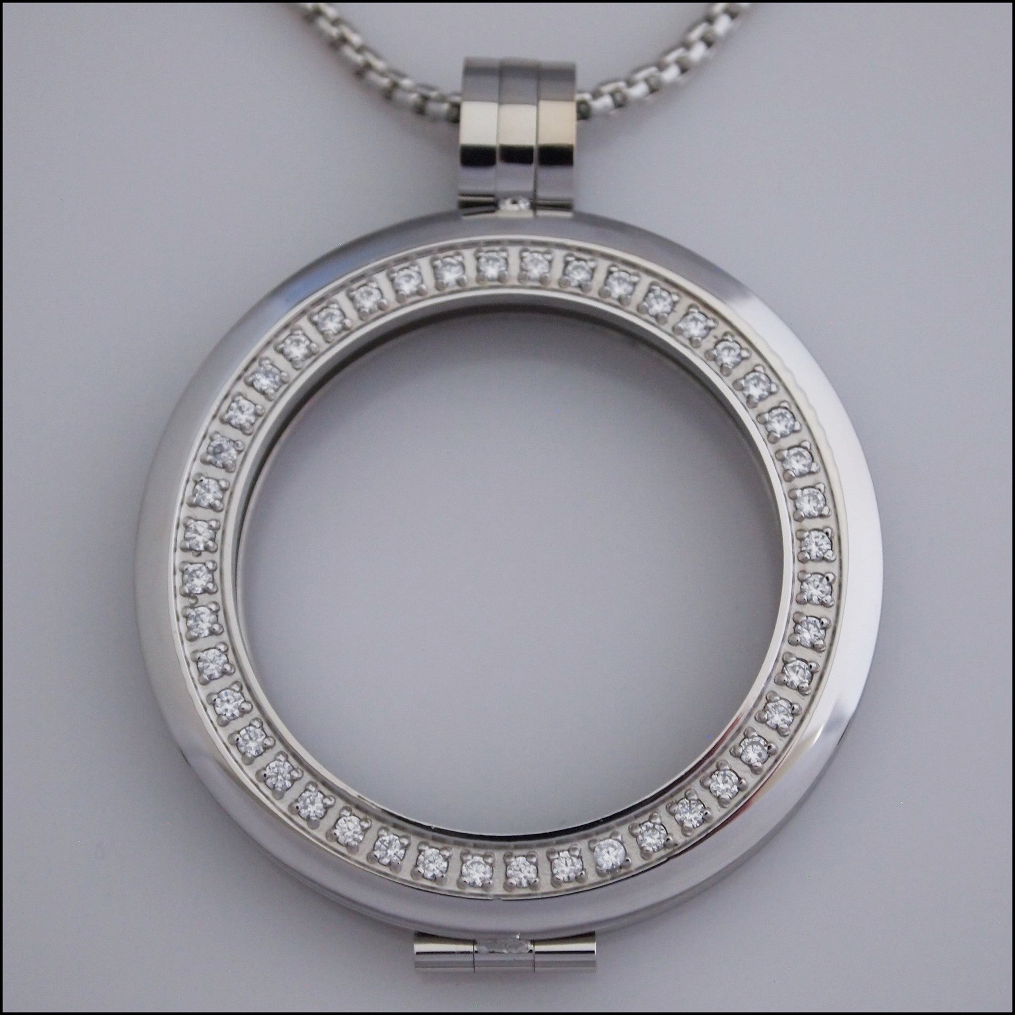 Smooth Surround Crystal Coin Holder Pendant - Silver - Find Something Special