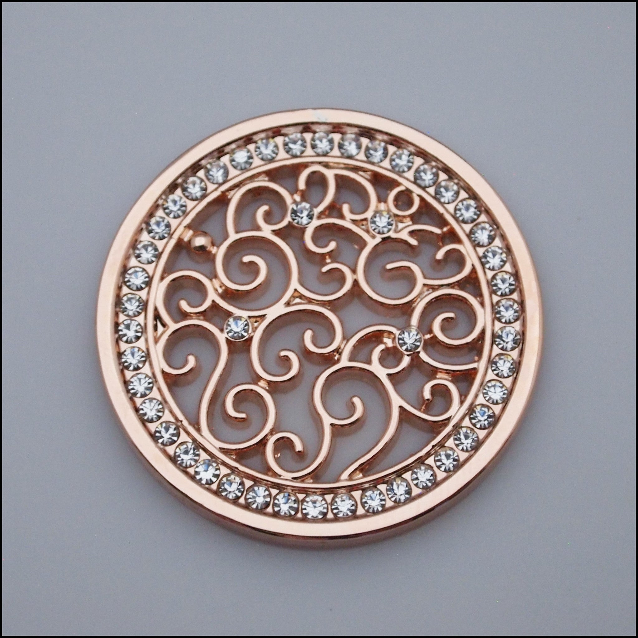Coin for Coin Pendant - Decorative Swirls Rose Gold - Find Something Special
