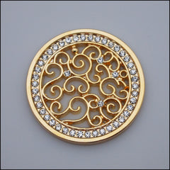 Coin for Coin Pendant - Decorative Swirls Gold - Find Something Special
