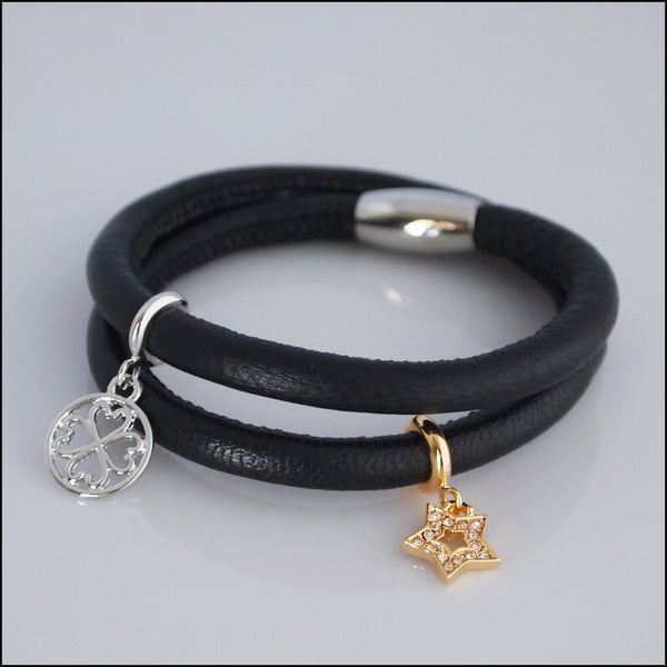Double Leather Charm Bracelet - Black