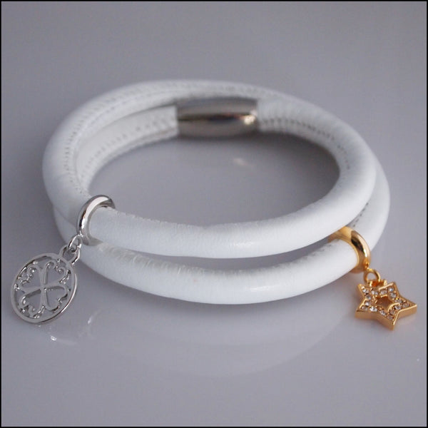 Double Leather Charm Bracelet - White