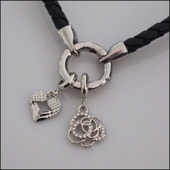 Rolo Leather Bracelet with Charms - Silver Plated - Find Something Special - 2