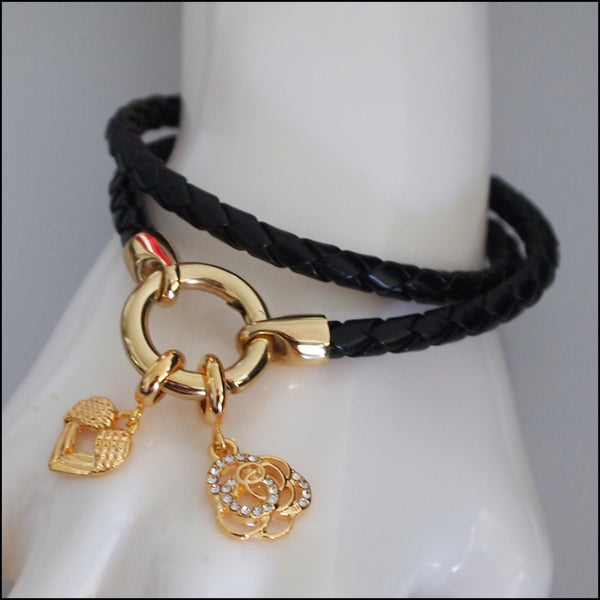 Rolo Leather Bracelet with Charms - Gold Plated