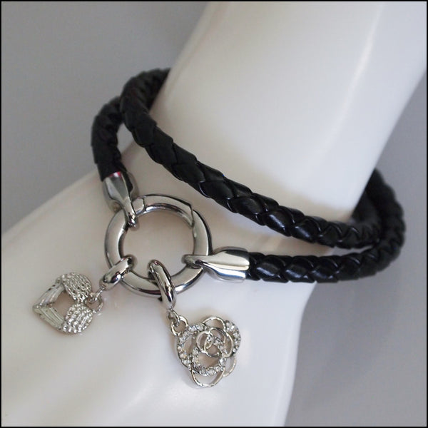 Rolo Leather Bracelet with Charms - Silver Plated