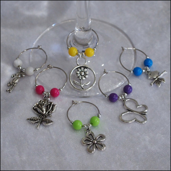 Handmade Wine Glass Charms - Set of 6 Garden