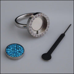 Magnetic Coin Crystal Ring - Silver