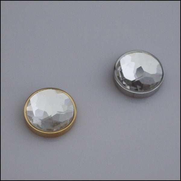 Single White Crystal 12mm Magnetic Coin
