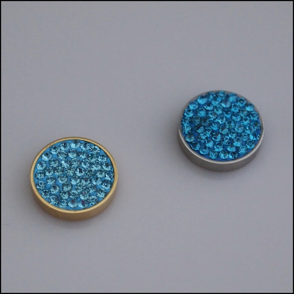 Pave Crystal Blue 12mm Magnetic Coin