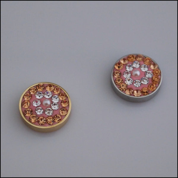 Pave Crystal Champagne/White 12mm Magnetic Coin