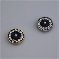 Pave Crystal Black/White 12mm Magnetic Coin