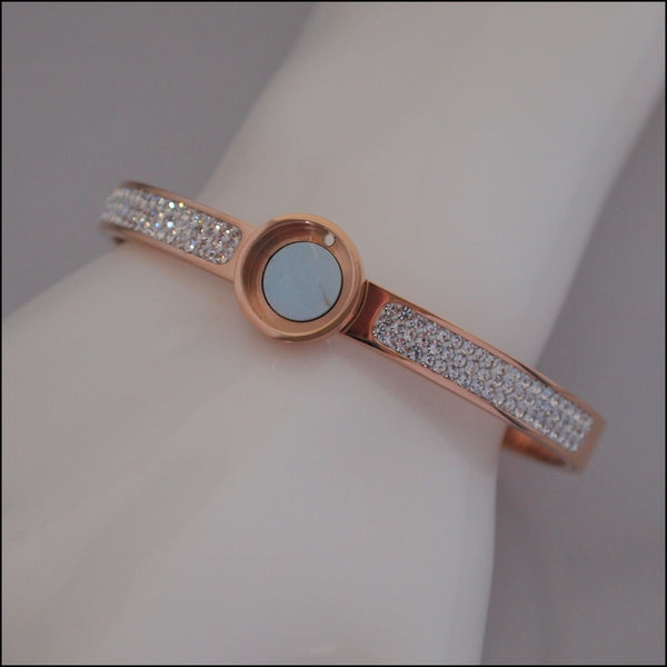Magnetic Coin Crystal Bangle - Rose Gold