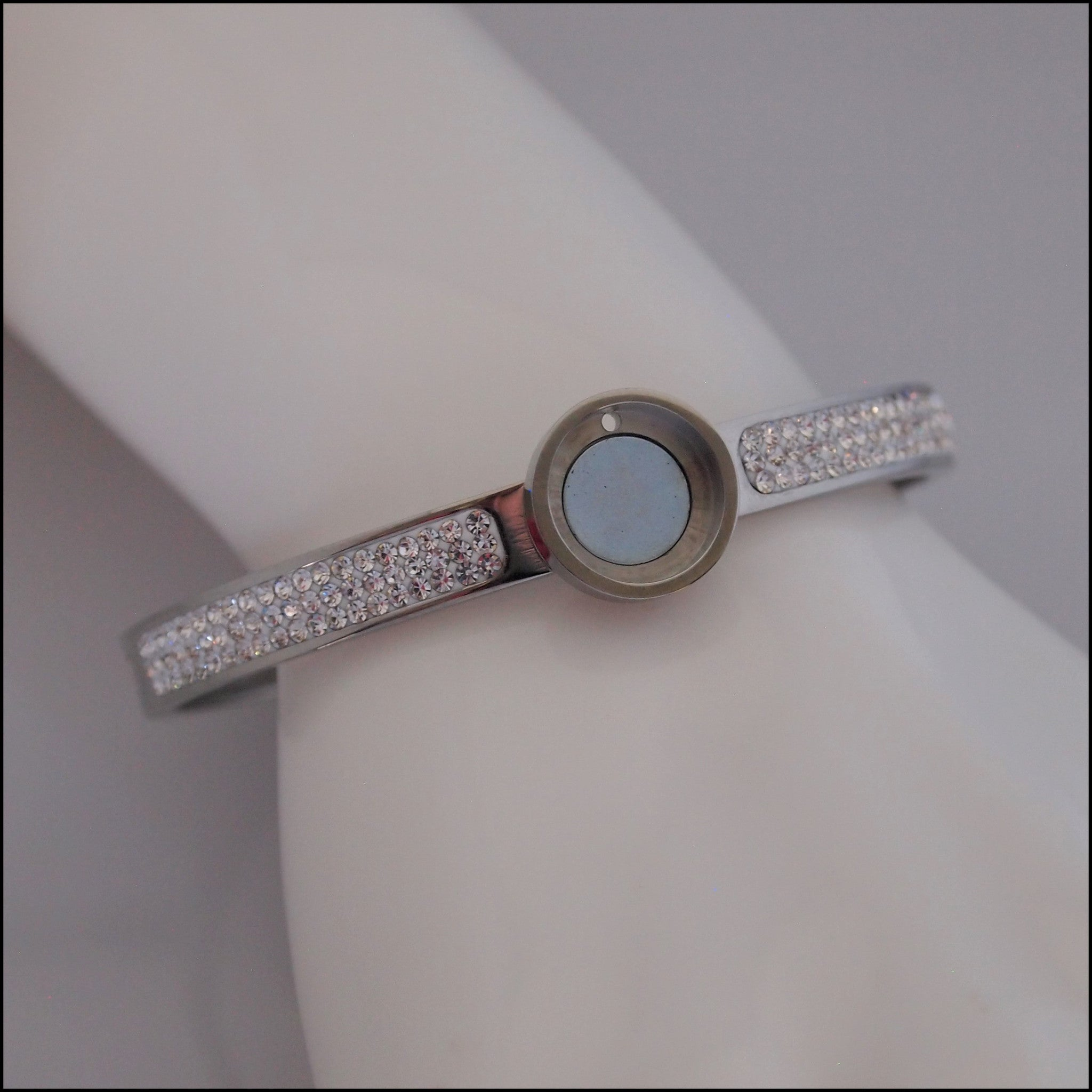 Magnetic Coin Crystal Bangle - Silver