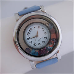 Living Locket Floating Watch - Silver & Blue
