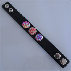 Wide Leather 3 Snap Bracelet Black - Set 2