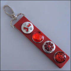 Leather 4 Snap Key Ring - Red Set 2