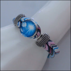 Zig Zag Snap Button Bracelet - Blue/Pink