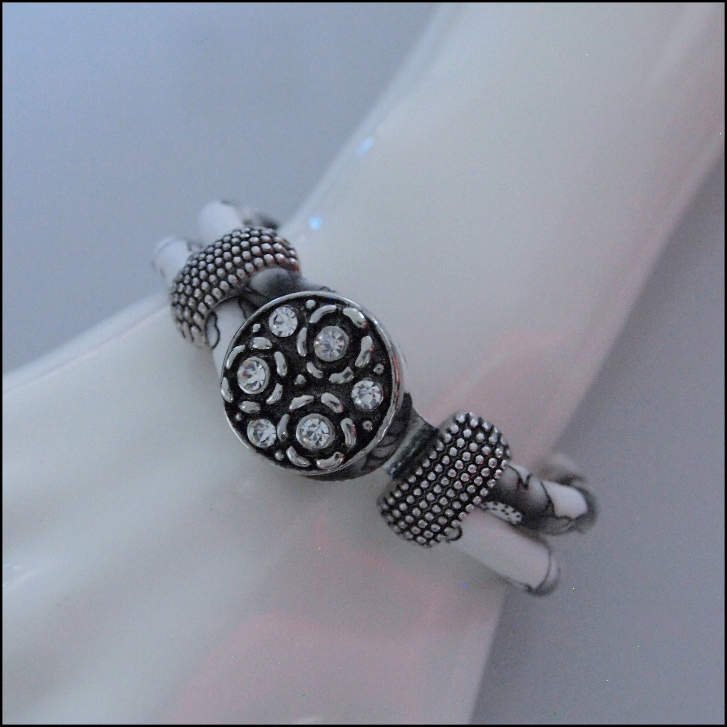 Floral Black and White Snap Button Bracelet