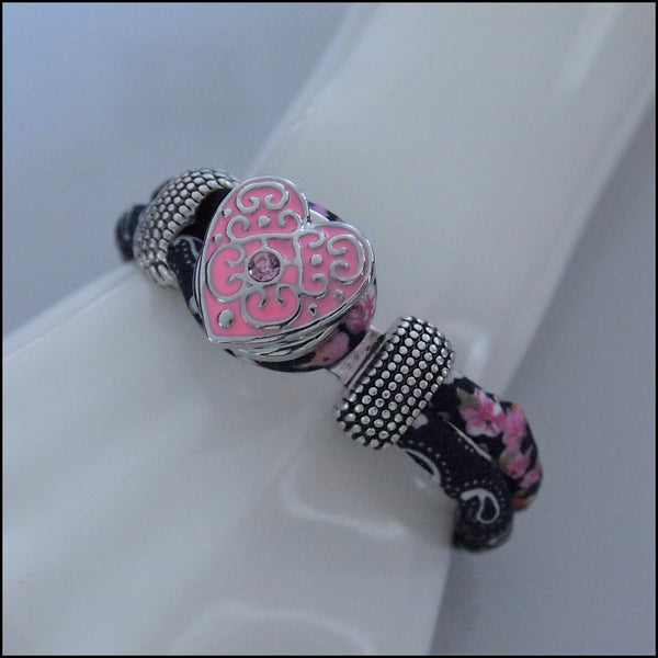 Floral Navy Snap Button Bracelet