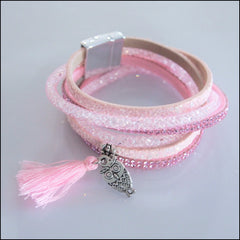 Leather Boho Wrap Bracelet - Pink