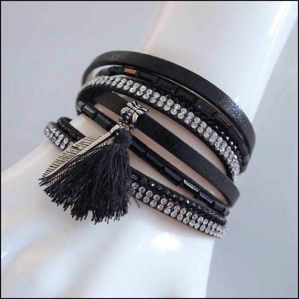 Leather Boho Wrap Bracelet - Black