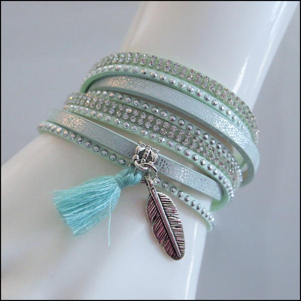 Leather Boho Wrap Bracelet - Mint