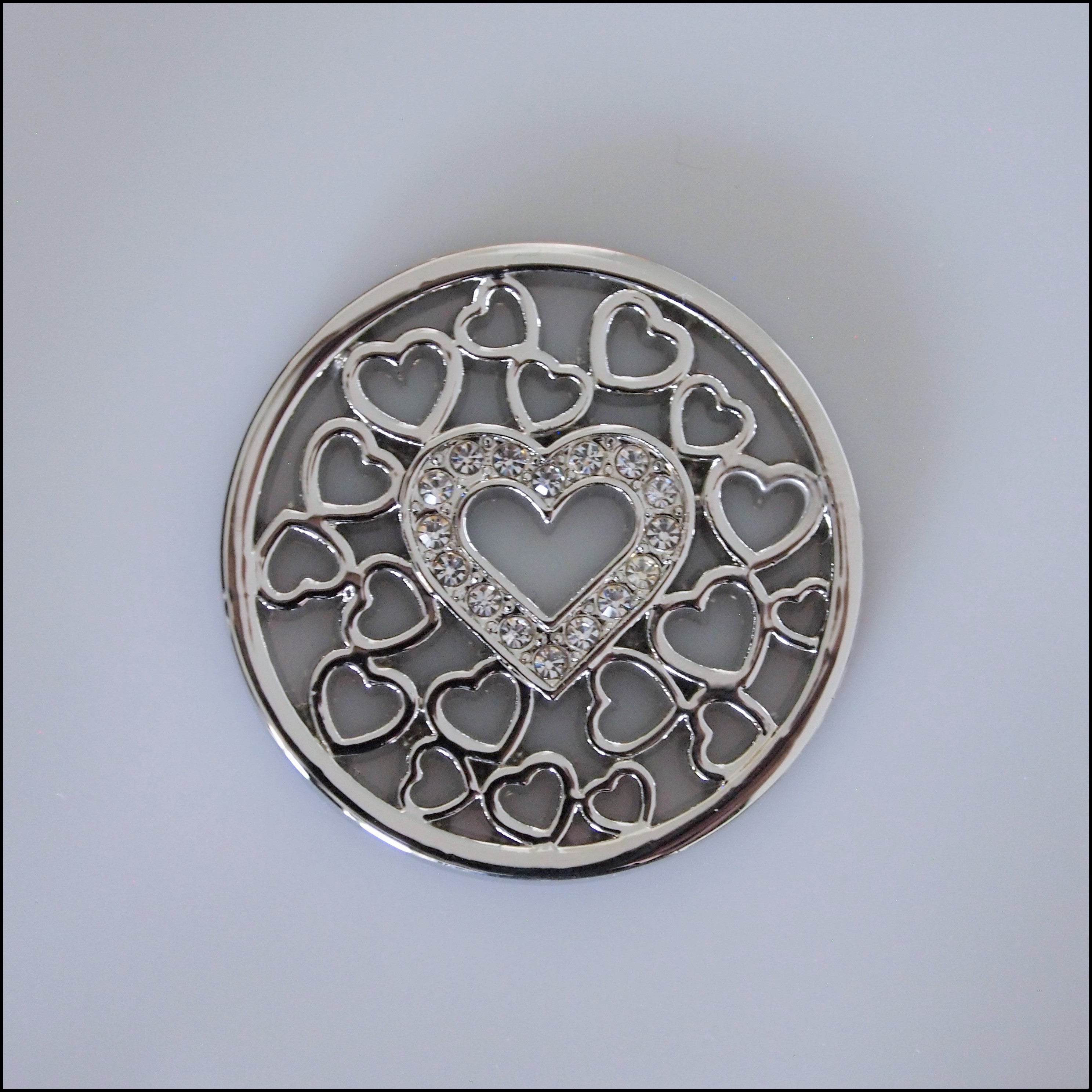Coin for Coin Pendant - Crystal Heart Silver