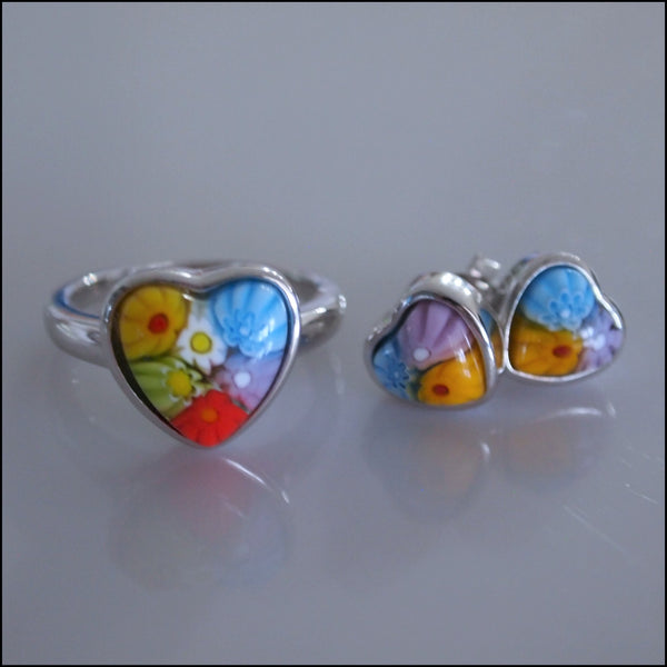 Murano Glass Heart Ring and Studs Set by Alan K