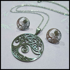 Stainless Steel Tree of Life Pendant & Earring Set