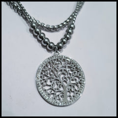 Stainless Steel Tree of Life Crystal Pendant
