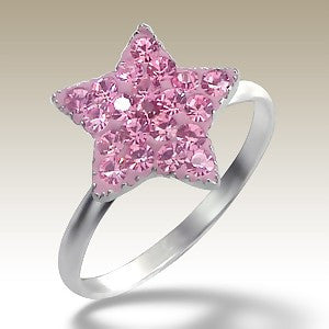 Pink Crystal Star Sterling Silver Stacking Ring
