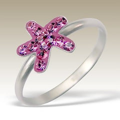 Pink Crystal Star Fish Sterling Silver Stacking Ring - Find Something Special