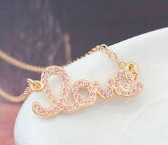 "Pink and Gold ""Love"" Necklace - Find Something Special"