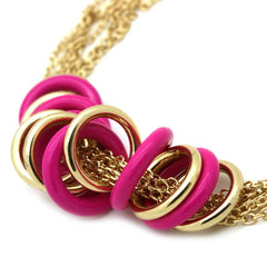 Pink and Gold Hoops Necklace - Find Something Special