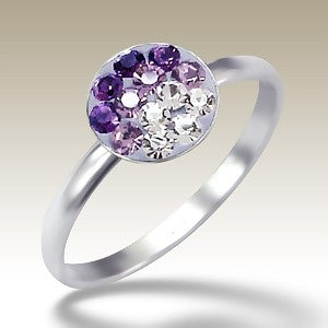 Purple Fade Crystal Disc Sterling Silver Stacking Ring