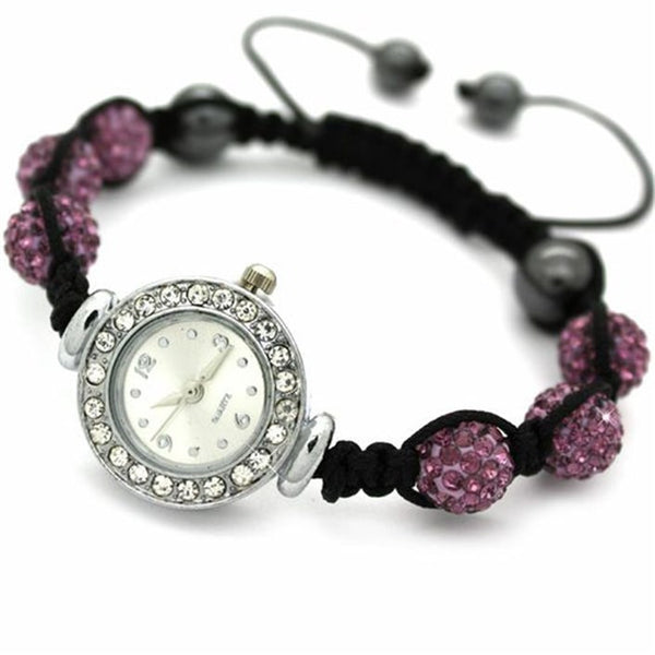 Purple Crystal Shamballa Watch