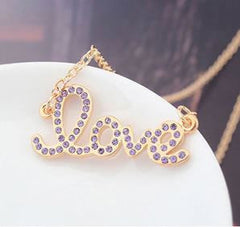 "Purple and Gold ""Love"" Necklace - Find Something Special"