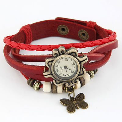 Vintage Leather Butterfly Watch - Red