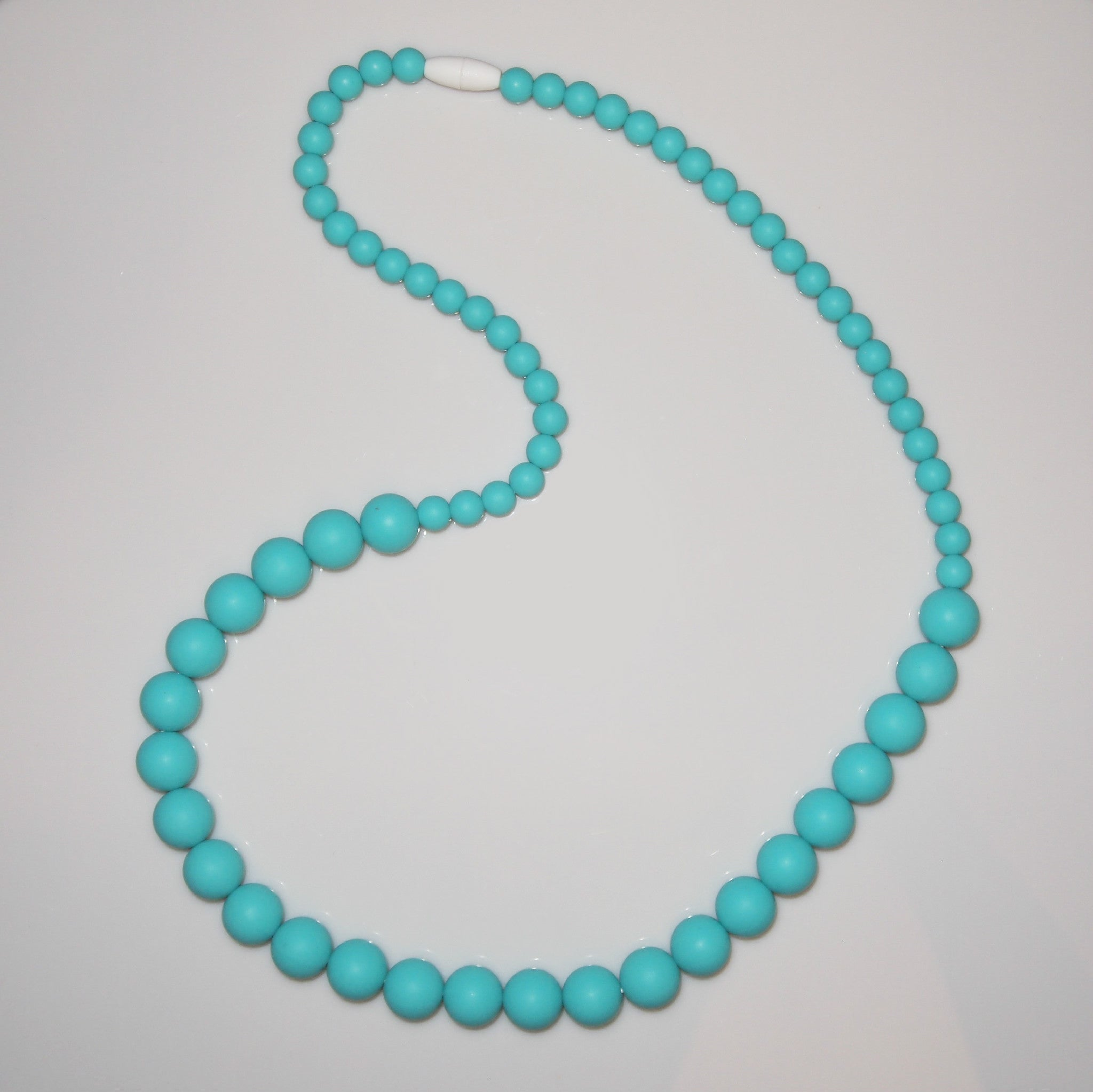 Silicone Round Bead Teething Necklace - Aqua - Find Something Special