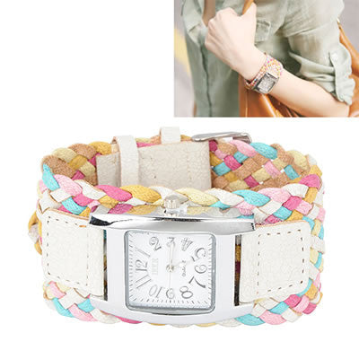 White Candy Weave Watch - Find Something Special