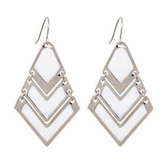 White Geometric Drop Earrings - Find Something Special