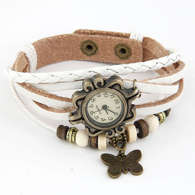 Vintage Leather Butterfly Watch - White