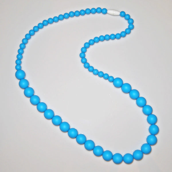 Silicone Round Bead Teething Necklace - Sky Blue