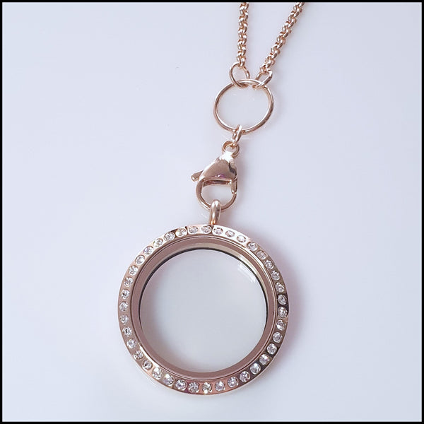 Rose Gold Crystal Living Locket